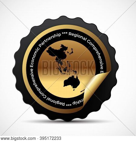 Mdelon, Sign With The Modern Regional Comprehensive Economic Partnership Rcep Map. Vector Illustrati