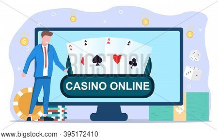Casino And Gambling Concept. Website Or Web Page On Computer Monitor With Online Poker, Internet Gam