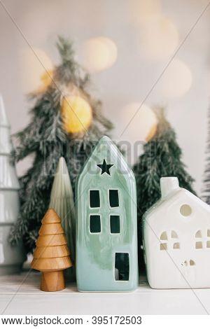 Christmas Scene, Miniature Holiday Village. Christmas Lights, Little Houses, Trees On White