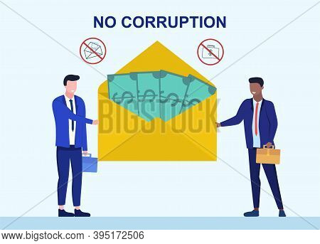 Bribery And Corruption Concept. Businessmen Holding Giant Envelope With Money During Corruption Deal