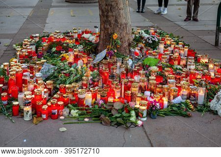 Vienna, Austria - 11.05.2020: Candles And Flowers At The Site Of The November Terrorist Attack In Vi