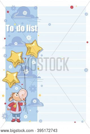 To Do List. Santa Claus. Cartoon Calf With Star Shaped Balloons. Template Design, Childrens Planning
