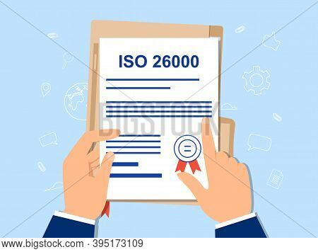 Iso 26000 And Social Responsibility Concept. Standards Business Compliance To International Organiza