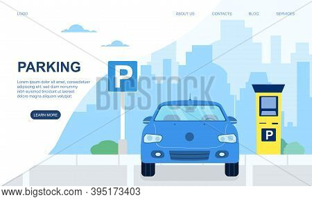 Automobile, Car On Modern Parking Lot In City Or Town. Road Sign Of Parking Lot With Checkpoint. Web