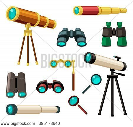 Various Optical Instruments Set. Stylish Gold Plated Retro Monocle Antique And Modern Telescope Astr
