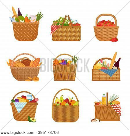 Wicker Baskets With Groceries Set. Straw Containers Filled With Fruits And Vegetables Purchases From