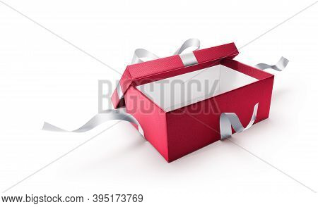 Red Open Gift Box With Silver Ribbon Isolated On White Background