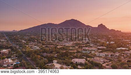 Scottsdale, Arizona view of Camelback Mountain at sunset.
