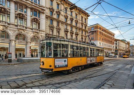 Milano, Italy - oct 16, 2020: Milano, Italy - oct 16, 2020: Yellow trams in the streets  Milano, Italy