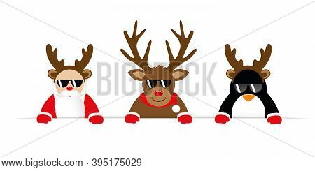 Funny Christmas Cartoon With Cute Reindeer Santa And Penguin With Sunglasses And Antler Vector Illus