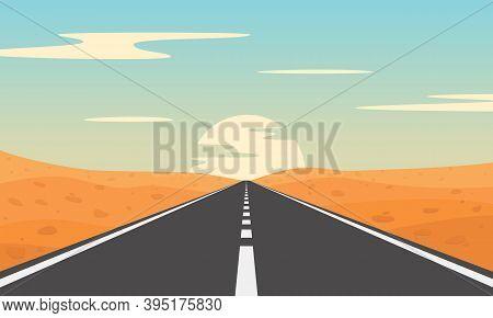 Road In Desert. Desert Landscape With Asphalt Highway.