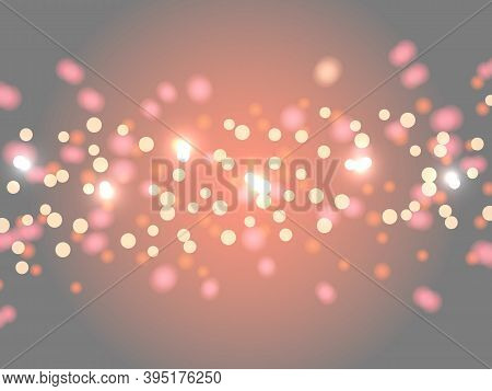 Abstract Bokeh Background. Blurred Bright Abstract Bokeh On Gray-orange Background. Holiday Glowing