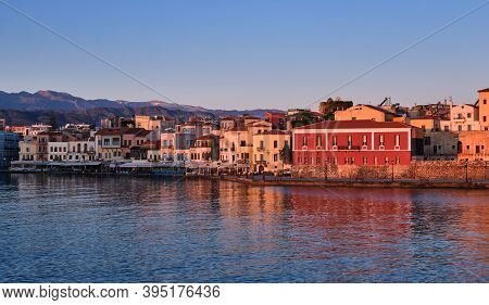 Sunrise View Of Old Venetian Harbour, Chania, Crete, Greece, Its Quay.maritime Museum Of Crete In Fi