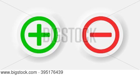 Plus And Minus Vector Neomorphism Style Green And Red Icon, Neumorphic Calculation Symbol Marks Illu