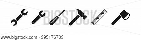 Tool Vector Icon Set, Working Instruments, Flat Tools Symbol Collection Screwdriver And Wrench Isola