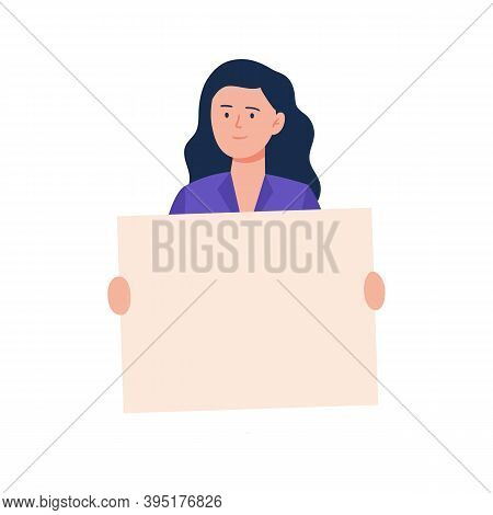 A Young Woman Holding A Blank Poster. Cartoon Character Showing A Blank Banner. Vector Flat Illustra