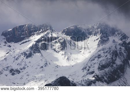 Snowy Mountains Landscape In The Aragonese Pyrenees. Aguas Tuertas Valley, Hecho And Anso, Huesca, S