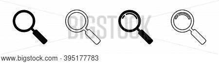 Magnifying Glass Icon Set Vector Flat Zoom Symbol Collection. Magnifier Find Toolisolated Illustrati