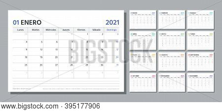 Spanish Planner For 2021 Year. Calendar Template. Week Starts Monday. Vector. Table Schedule Grid. C