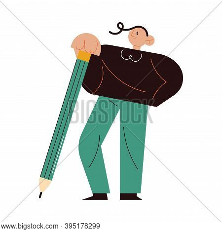 Man Writer Author Standing And Holding Pencil In Hands