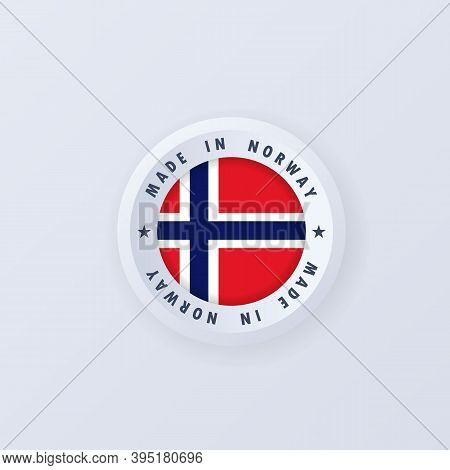 Made In Norway. Norway Made. Norway Quality Emblem, Label, Sign, Button, Badge In 3d Style. Norway F