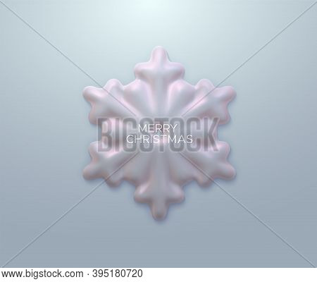 Pearlescent Snowflake. Vector 3d Illustration Of Snowflake Shape. Merry Christmas Decoration Element