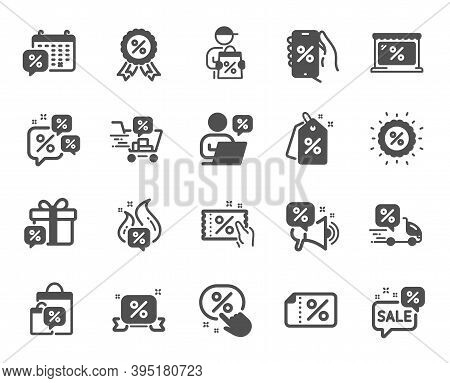 Discounts Icons. Sale Coupon, Phone With Percent Sign, Discount Price Tag. Wholesale Store Market, C
