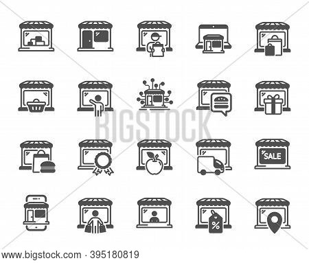 Market Store Icons. Online Marketplace, Wholesale Shop, Network Marketing. Store Showcase, Grocery S