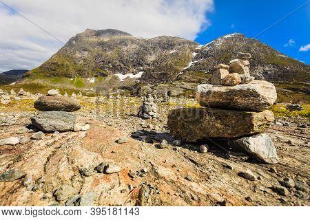 Mountains Rocky Stone Landscape Near Troll Path. Norwegian Scenic Route Geiranger - Trollstigen.