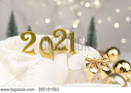 Year 2021 Numbers On Golden Bokeh Background New Year Mood, Christmas, Greeting Card, New Year Backg