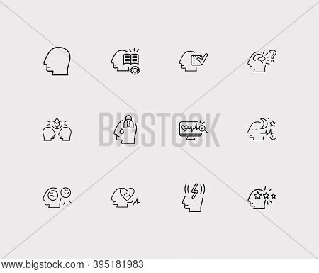 Mental Icons Set. Health Monitoring And Mental Icons With Relationship Harmony, Mental Health And Pe