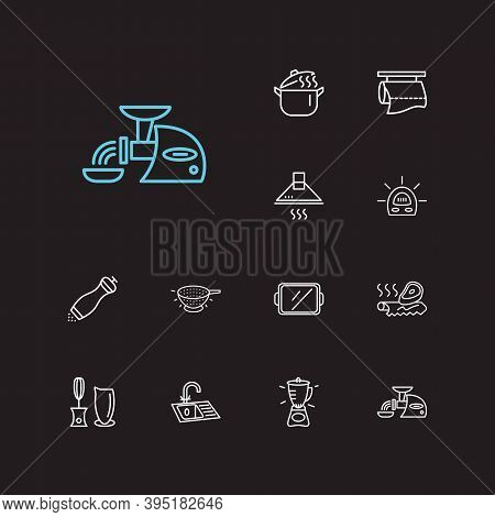 Utensil Icons Set. Blender And Utensil Icons With Tin Foil, Pepper Mill And Tray. Set Of Scroll For