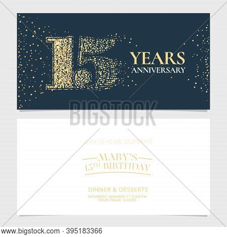 15 Years Anniversary Vector Logo, Icon. Graphic Design Element With Number For 15th Anniversary