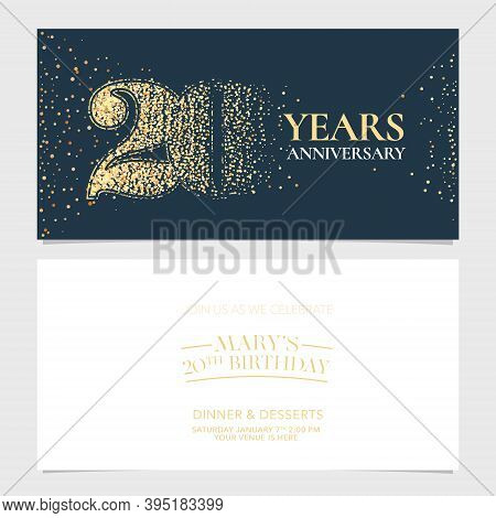 20 Years Anniversary Vector Logo, Icon. Graphic Design Element With Number For 20th Anniversary
