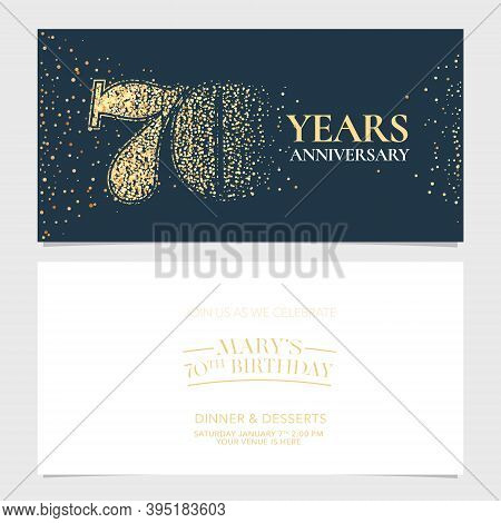 70 Years Anniversary Vector Logo, Icon. Graphic Design Element With Number For 70th Anniversary