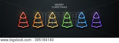 Abstract Rainbow Colors Christmas Tree Set. Vector Festive Illustration. Fir-tree Shapes Isolated On