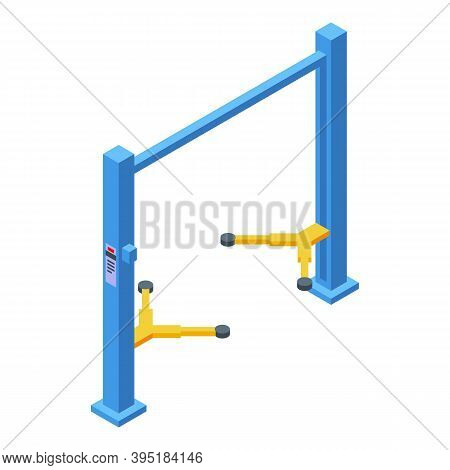 Car Lift Equipment Icon. Isometric Of Car Lift Equipment Vector Icon For Web Design Isolated On Whit