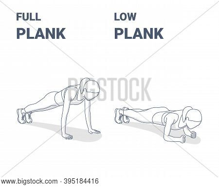 Full Plank And Elbow Plank Girl Abs Home Workout Exercises Concept.