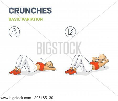 Crunch Female Workout Exercise Guide Colorful Concept Illustration.