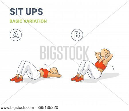 Sit Up Woman Workout Exercise Guide Colorful Concept Illustration.