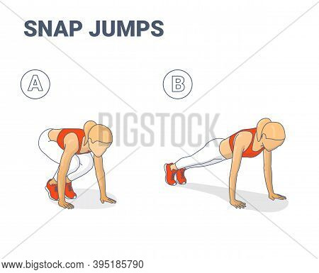 Snap Jumps Or Squat Thrust Exercise Female Silhouette Colorful Concept Vector Illustration.