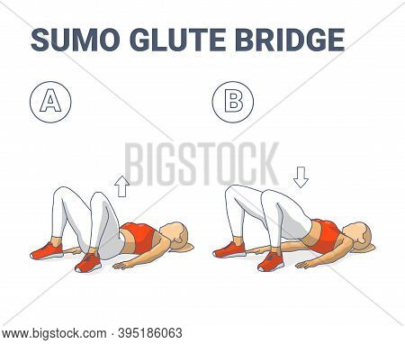 Sumo Glute Bridge Girl Workout Exercise Guide Colorful Concept.
