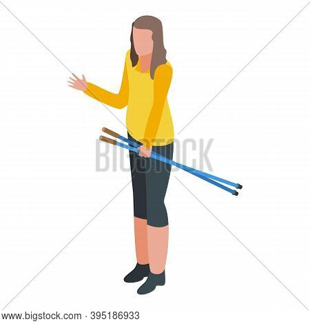 Climb Nordic Walking Icon. Isometric Of Climb Nordic Walking Vector Icon For Web Design Isolated On