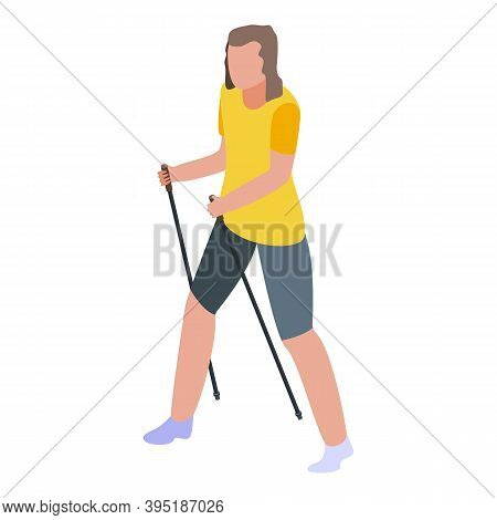 Hiker Walking Trekking Icon. Isometric Of Hiker Walking Trekking Vector Icon For Web Design Isolated