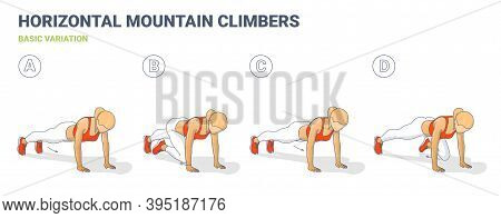 Mountain Climbers Home Workout Woman Exercise Guide Colorful Illustration.