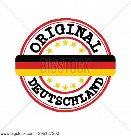 Vector Stamp Of Original Logo With Text Deutschland And Tying In The Middle With Nation Flag. Grunge