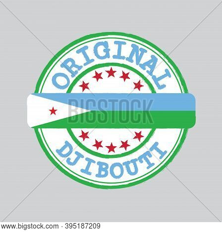 Vector Stamp Of Original Logo With Text Djibouti And Tying In The Middle With Nation Flag. Grunge Ru