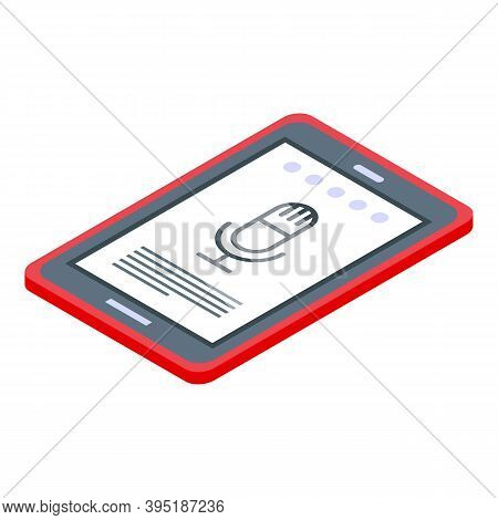 Record Ebook Voice Icon. Isometric Of Record Ebook Voice Vector Icon For Web Design Isolated On Whit