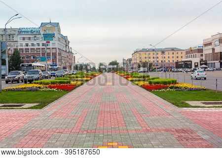 Barnaul. Russia.  August 25. 2020. Main Street Of Lenin Avenue In Barnaul. Near The Square Of Soviet