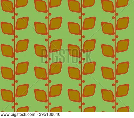 Retro Vintage Seamless Vector Pattern, Midcentury Floral Leaves Background, 50s 60s 70s Style